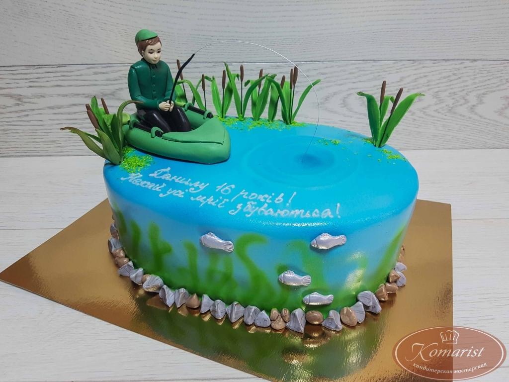 Торт рыбак в лодке фото